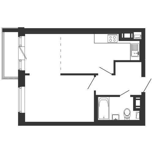 Планировка Однокомнатная квартира площадью 40.18 кв.м в ЖК «
