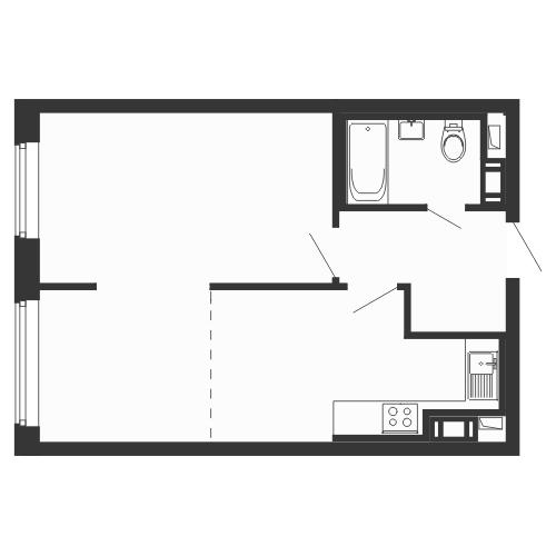 Планировка Однокомнатная квартира площадью 43.2 кв.м в ЖК «