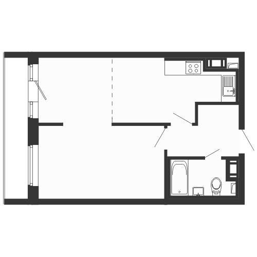 Планировка Однокомнатная квартира площадью 45.9 кв.м в ЖК «