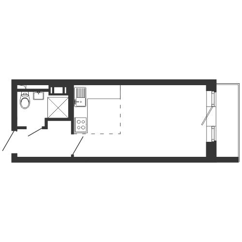 Планировка Студия площадью 25.3 кв.м в ЖК «