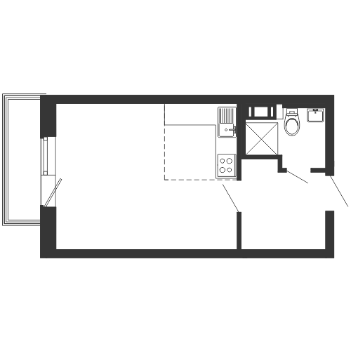 Планировка Студия площадью 31.24 кв.м в ЖК «
